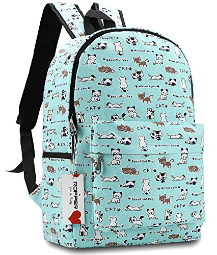 Ropper Lightweight Canvas Cute Pattern Kids School Backpack,15' (Green-Cat)