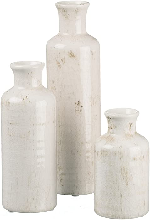 Sullivans Small White Ceramic Vase Set, Rustic Home Decor, Distressed White, Set of 3 (CM2333)