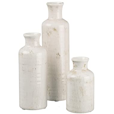 Sullivans Ceramic Vase Set, Various Sizes, Distressed White, Set of 3 (CM2333)