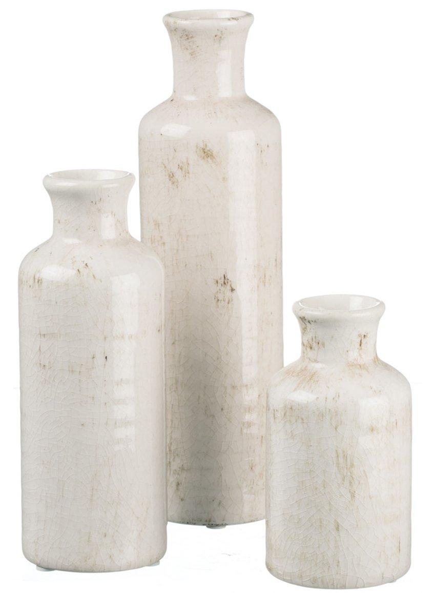 Sullivans Bottle-Style 3 Vase Set, Worn White by Sullivans
