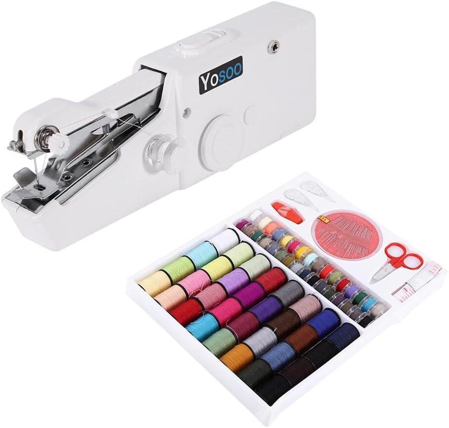 Minimáquina de coser portátil manual + caja con 64 hilos de coser tejido fino (tejido de grosor máx. 1,8 mm)