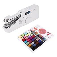 Mini Nähmaschine tragbar Handbuch + Box Fäden Nähmaschine 64Spulen für Couture Stoff Ende (Stoff Dick Max 1.8mm)