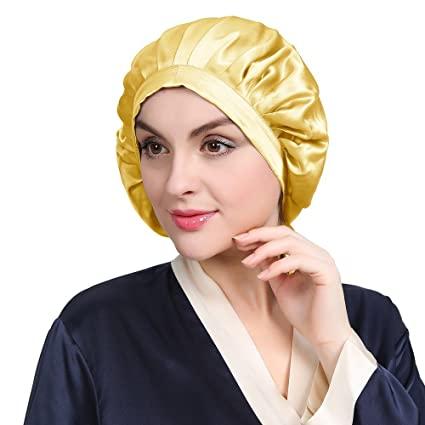Lily Silk Silk Sleeping Cap For Women Curly Hair Gold Traceless Slap Night Cozy Bonnet Adjustable 100 Pure Mulberry Silk 19 Momme by Lily Silk