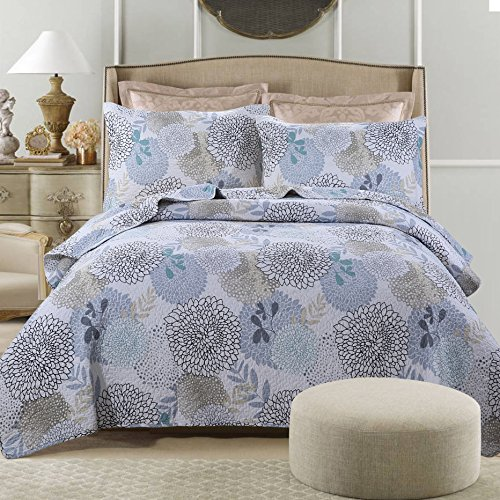Dodou Garden Theme European Style Quilt Patchwork Bedspread/Quilt Sets 100% Cotton Queen Size 3pcs by Dodou