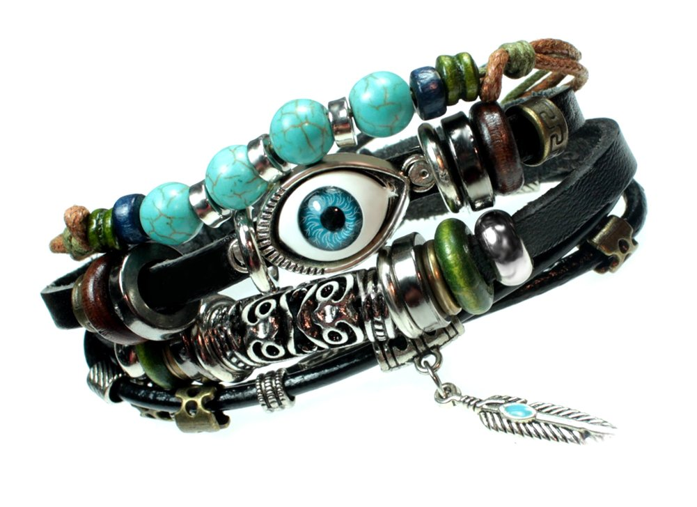 Eye Beaded Boho Multi Strand Feather Charm Leather Bracelet