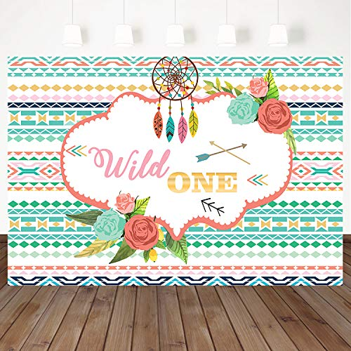 Mehofoto Wild One Birthday Backdrop for Photography Flower Dreamcatcher Boho Background 7x5ft Bohemian Themed 1st Birthday Party Decorations]()