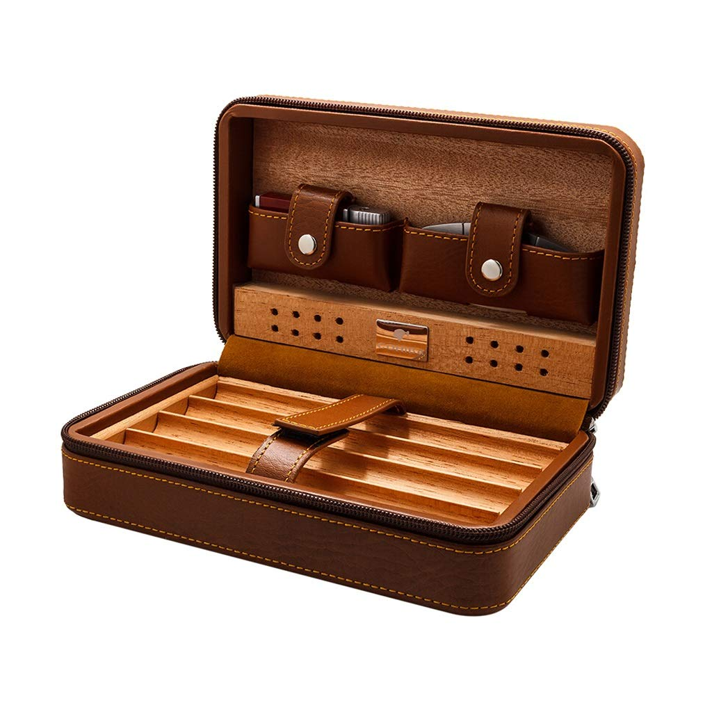Cigar Humidors Cigar Box, Travel Portable Cigarette Case Cedar Wood Lined with Leather, with Cigar Cutter and Humidifier, Leather Case Can Accommodate 4 Cigar, Zipper Bag Men's Gift Box,