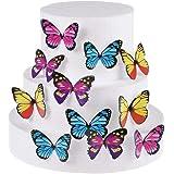 Set di 30topper per cupcake commestibili, decorazioni per torta nuziale e feste di compleanno, dimensioni e colori misti Butterfly