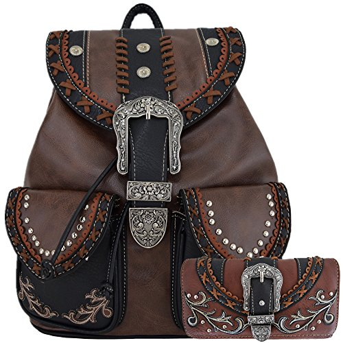 Western Style Daypack Cowgirl Backpack Belt Buckle Fashion School Bag Women Travel Biker Purse Wallet Set (Brown Set)