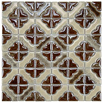 "SomerTile FXLPALH Castle Henna Porcelain Floor and Wall Tile, 11.75"" x 11.75"", Brown"