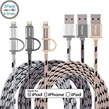 Miger (3Pack) Apple Certified 6.5FT 2 in 1 Lightning and Micro USB Cable Nylon Braided Sync and Charging Cable Cord for iPhone, iPad /iPod and Samsung, Nexus, Nokia, Sony & more