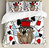 Ambesonne Poker Tournament Decorations Duvet Cover Set Queen Size, Cartoon Style Bulldog with Playing Cards Ribbon Rich Winner, Decorative 3 Piece Bedding Set with 2 Pillow Shams, Multicolor