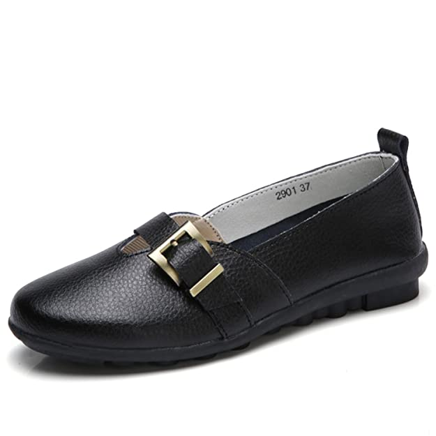 Amazon.com | Baqijian Shoes Women PU Leather Flats Loafers Soft Leather Loafers Female Casual Shoes Black | Shoes