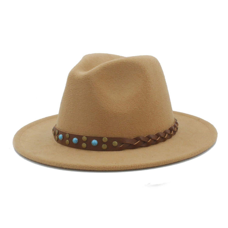 Retro Unisex Wool Fedora Hat for Elegant Lady Gentleman Winter Autumn Wide Brim Sombrero Sun Caps
