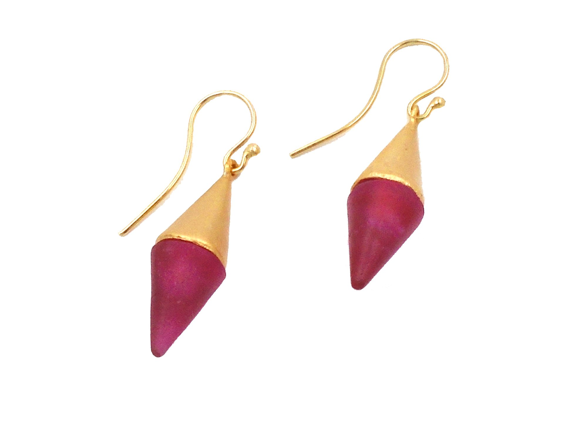 Michael Vincent Michaud- Glass ''Medium Spike Hanging Earring'' in Red
