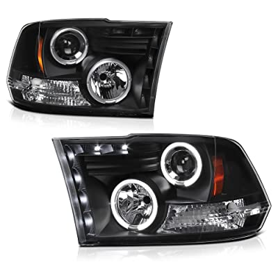 For 2009-2020 Dodge RAM 1500 2500 3500 Dual LED Halo Ring Black Projector Headlight Housing Headlamp Assembly Replacement Driver & Passenger Side: Automotive