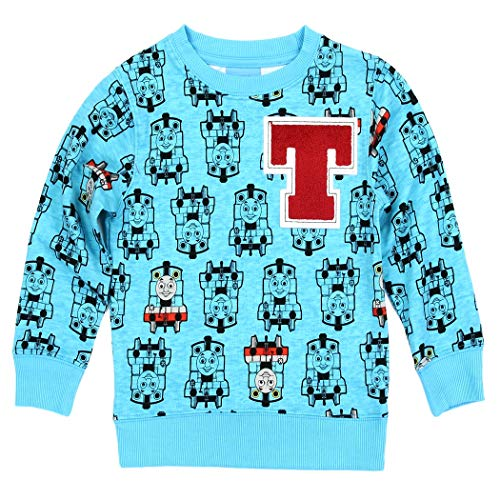 Apparel Train (Thomas The Train Toddler Little Boys All Over Print Sweatshirt Sweater (Blue, 4T))
