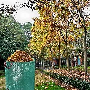 GJXY Bolsas de Basura de jardín, Bolsas de jardinería Pesadas Reutilizables Bolsas de Basura de desechos Impermeables con Asas (80 galones / 272L), 1Pack: Amazon.es: Jardín