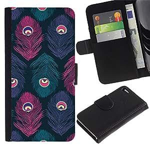 Apple iPhone 4 / iPhone 4S Modelo colorido cuero carpeta tirón caso cubierta piel Holster Funda protección - Peacock Pattern Teal Purple Pink