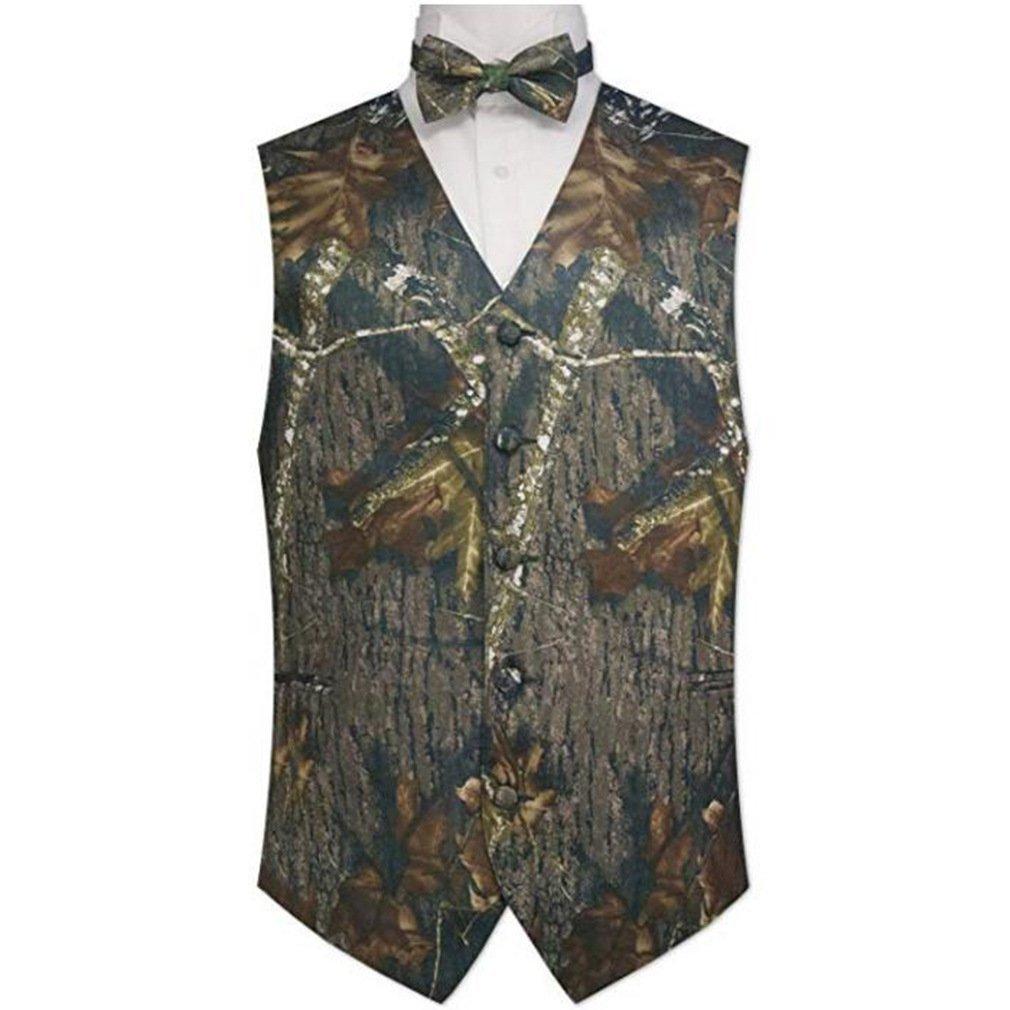 HZWL Man Camouflage Vest & Tie Prom Wedding Waistcoat m