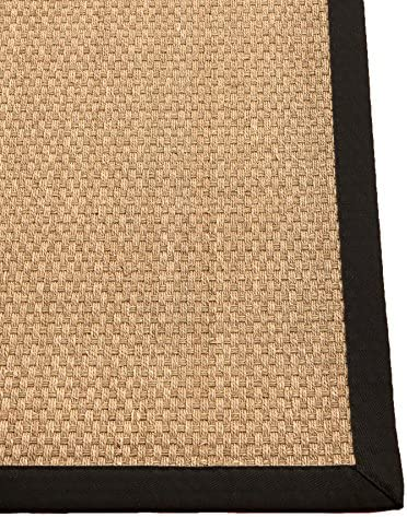 NaturalAreaRugs Reyna Organic Seagrass Area Rug, Handmade, 100 Percent Seagrass, Non-Slip Latex Back, Durable, Stain Resistant, 9 x 12 Ebony Border
