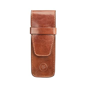 9130216f4ab3a Amazon.com : Maxwell Scott® Luxury Tan Luxury Pen Case (Pienza) - One Size  : Pencil Holders : Office Products