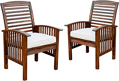 Walker Edison Furniture Company Acacia Patio Chairs with Cushions in Dark Brown – Set of 2
