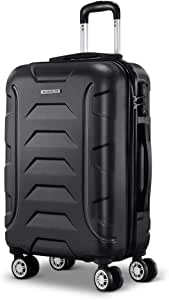 Wanderlite 57cm Luggage 4 Wheel Hard Shell Travel Suitcase, Black
