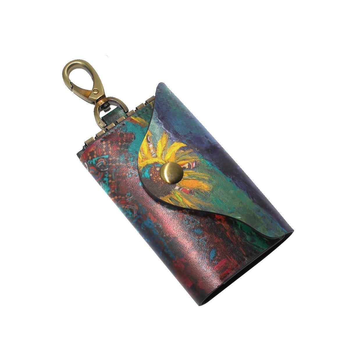 DEYYA Painting About Friendship Leather Key Case Wallets Unisex Keychain Key Holder with 6 Hooks Snap Closure