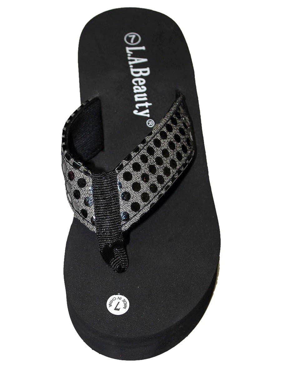 Dona Michi Leather Womens LA BEUATY Sprakle Sequin Platform Thong Flip Flops Wedge Sandal Heel 2.6 Apporx