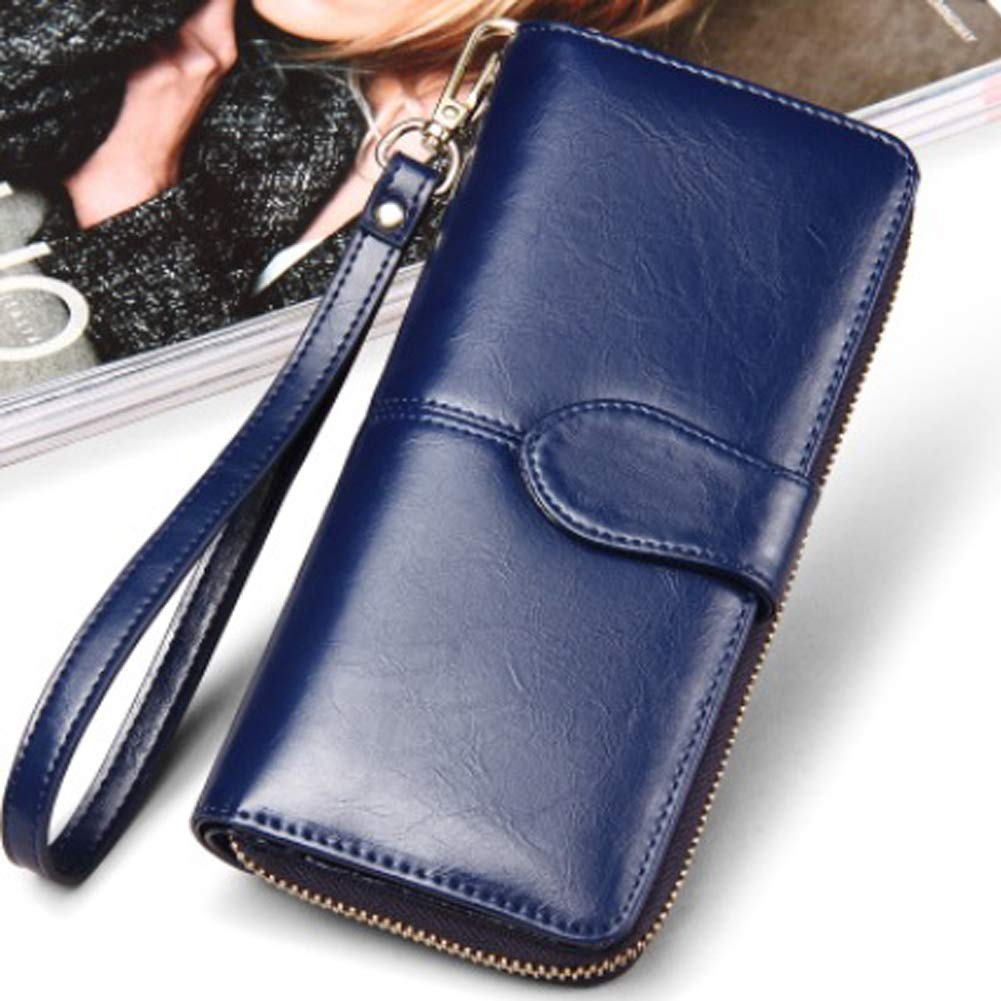Girls Purse Oil Wax Leather Wallet Student Oil Skin Coin Holder Mobile Phone Bag Long Hand Bag Retro Card Package,Pomegranatered (Color : RoyalBlue)