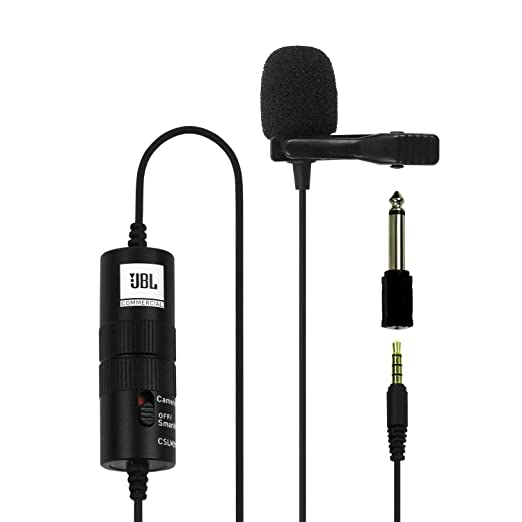 JBL Commercial CSLM20B Omnidirectional Lavalier Microphone with Battery for Content Creation, Voice over/Dubbing, Recording
