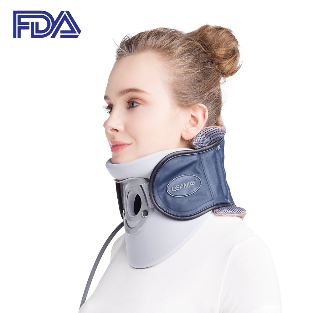 Leamai Dark Blue Standard Medical Neck Cervical Traction Device Relief from Neck and Upper Back Pain Portable Home Use Patented FDA Guaranteed