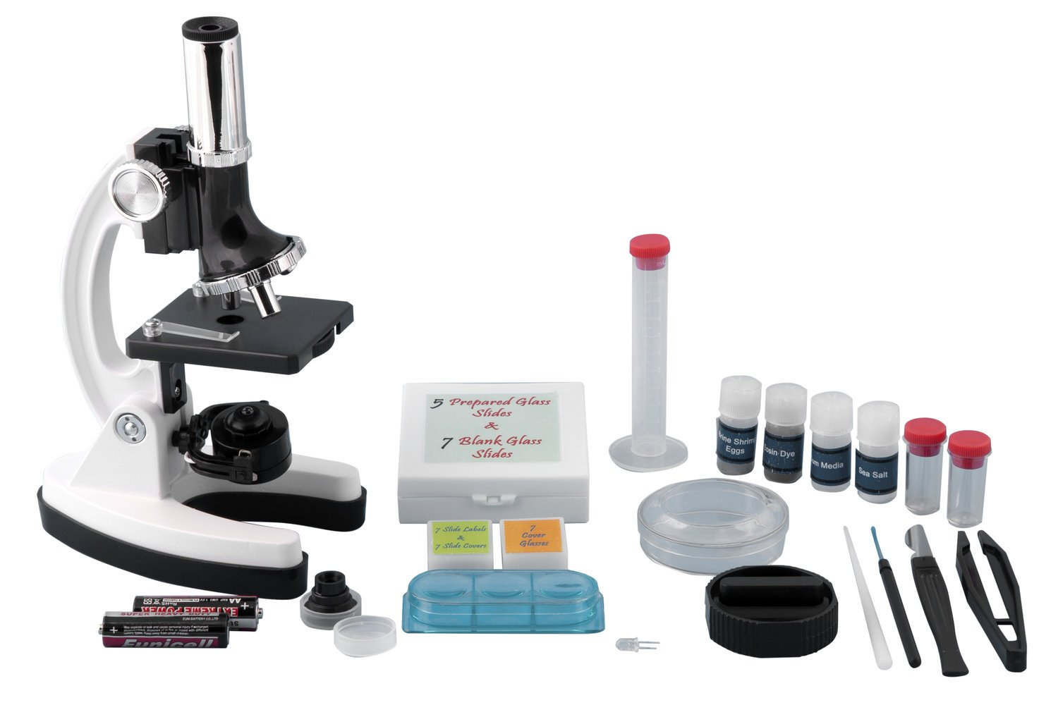 Pearington AP-M0004 Kids Beginner Metal Microscope Set with 58 Piece Accessory Kit and Case, 12.58'' Height, 4.76'' Wide, 15.33'' Length
