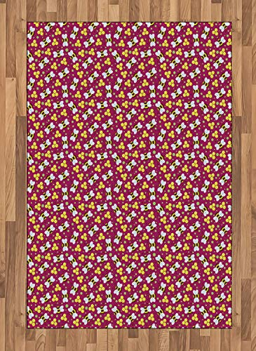 - Honey Bee Large Area Rug for Living Room Bedroom Graphical Flying Bugs and Polka Dots Rubber Backing Non-Slip Indoor Floor Carpet, 4 x 5.7 FT, Raspberry Pastel Yellow Dark Rosewood Pistachio Green
