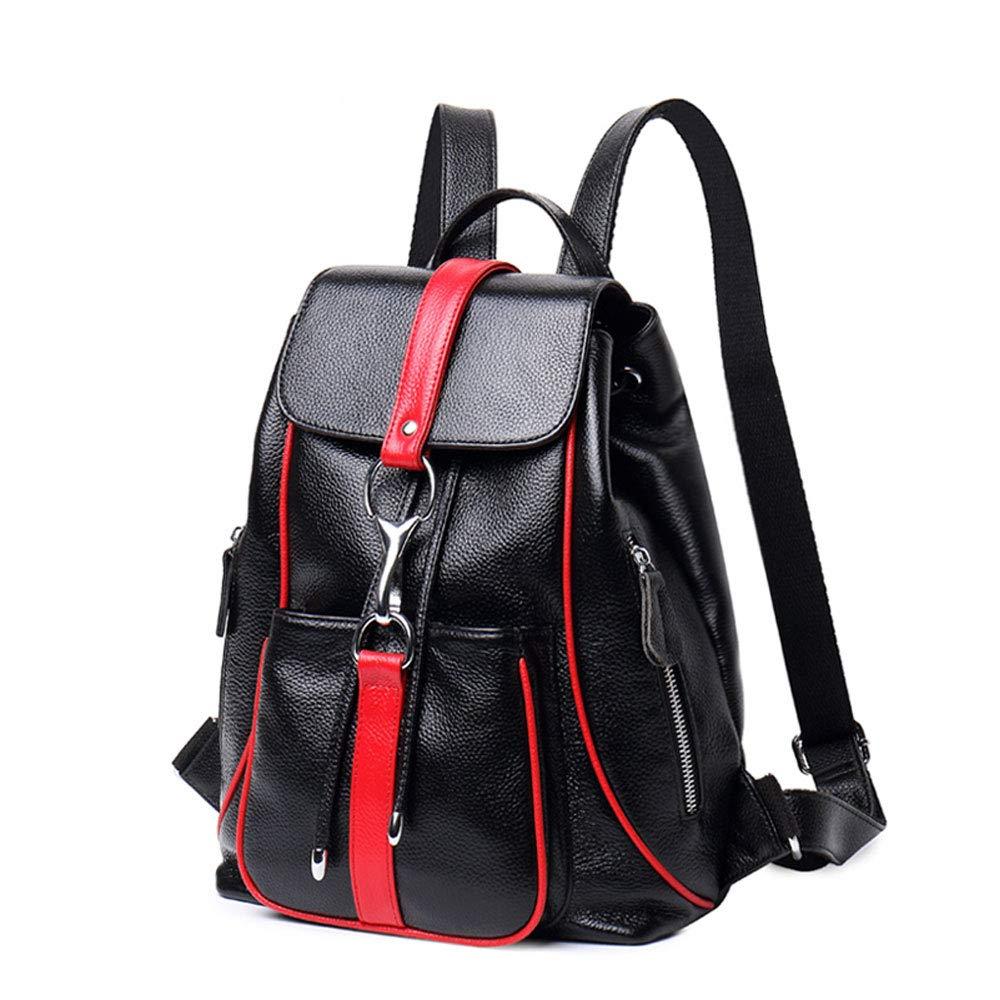野生の革のショルダーバッグの女性のファッション革のハンドバッグの女性のバックパックソフトレザーバッグの韓国語バージョン (色 : Black red)  Black red B07Q1ZDHNW