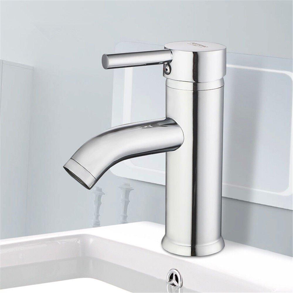 ANNTYE Waschtischarmatur Bad Mischbatterie Badarmatur Waschbecken Messing Warmes und kaltes Wasser mit Einem Hebel 1 Bohrung Badezimmer Waschtischmischer