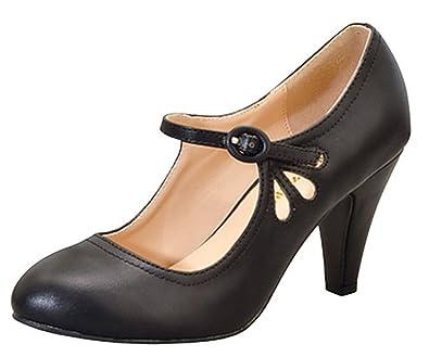 7e09648c30 Chase & Chloe KIMMY-21 Black Round Toe Pierced Mid Heel Mary Jane Dress  Pumps