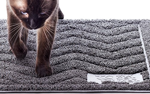My Cat Mat Kitty Litter Box Mat - Best For Trapping and Catching Litter Scatter, Large XL Catcher Pan for Tracking Control, Trapper Rug - Grey