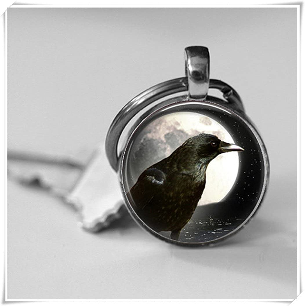 Full Moon,Raven Photo Key Chain,Black Crow, Dome Glass Ornaments, Pure Handmade wish dandelion