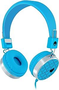 RockPapa 878 On Ear Love Hearts Headphones Foldable, Adjustable Headband for Teens/Adults, iPod iPhone iPad Mini iPad Air, Surface Laptop DVD MP3/4 Blue
