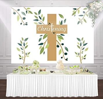 HUAYI Communion Baptism Backdrop for Photography Baby Shower Christening Photo Background Party Decoartion 7x5ft W-2231
