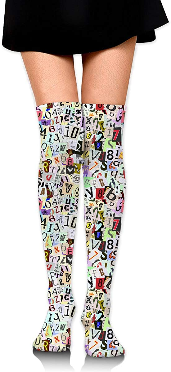 Womens//Girls Torn Paper Letters And Numbers Casual Socks Yoga Socks Over The Knee High Socks 23.6