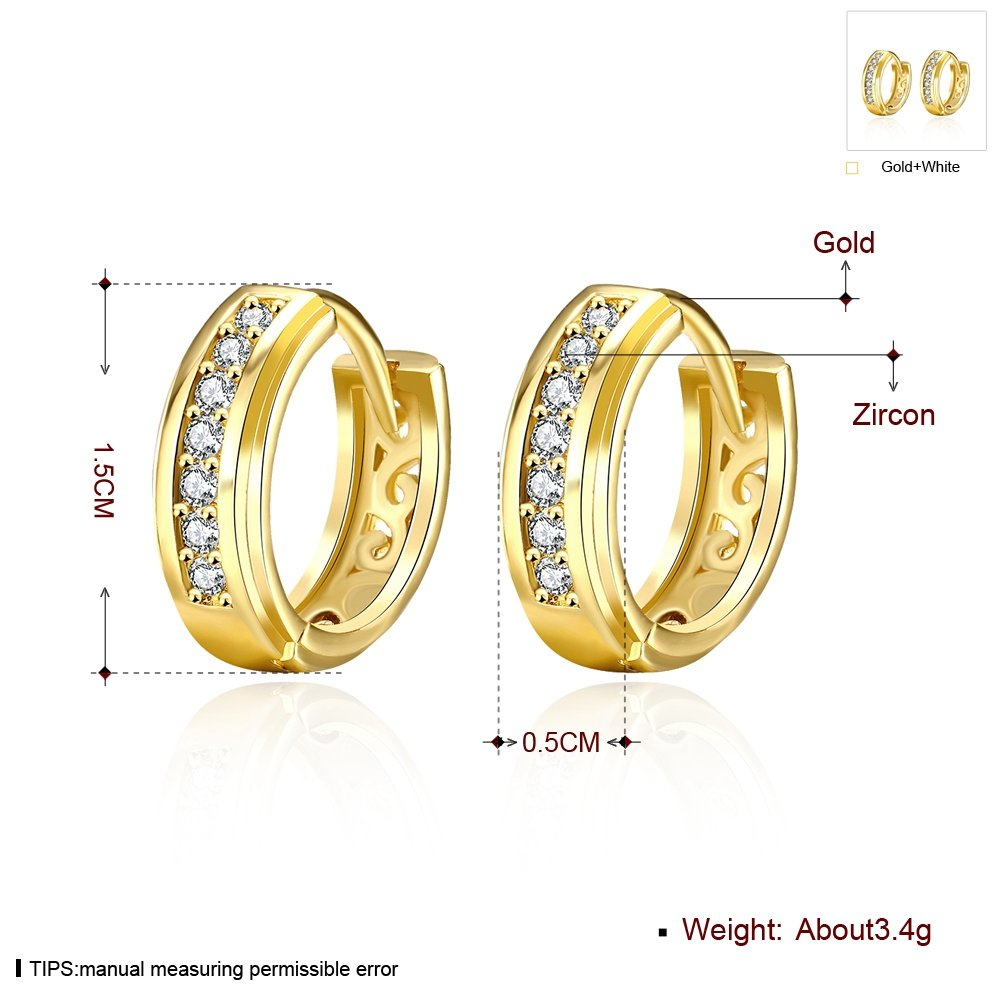 15mm Small Huggie Hoop Earrings,14K Gold//Rose Gold Plated CZ Cubic Zirconia Hypoallergenic Studs For Women Teen Girls Sensitive Ears