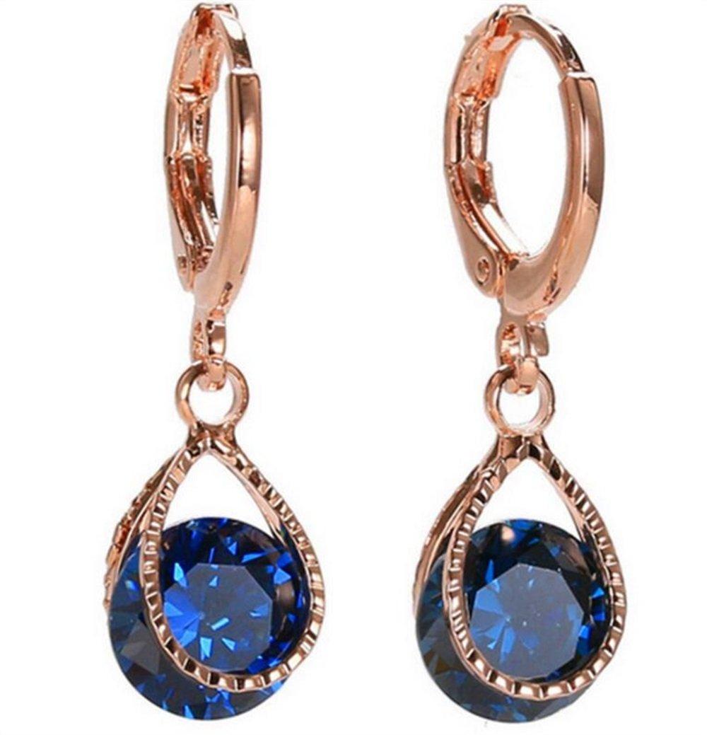 DIY Crafts Charm Earrings 18K Gold-Plated Long Earring Pendant Earrings for Women(Blue)