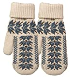 Broner Ladies Double Layer Knit Mittens with Nordic Design, Oatmeal