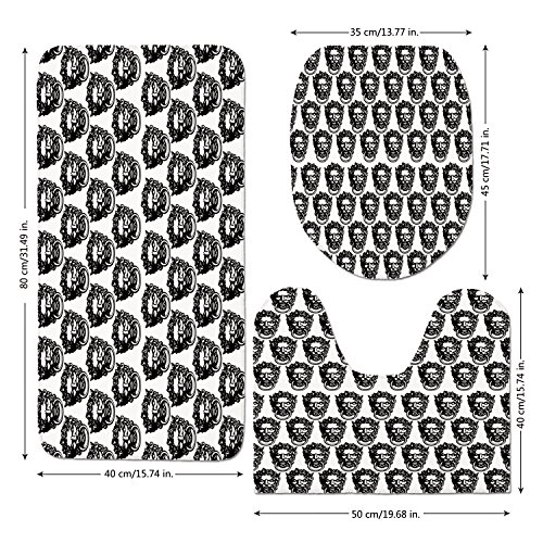 3 Piece Bathroom Mat Set,Black-and-White,Monochrome-Medieval-Knocker-Old-Antique-Figure-Head-Cartouche-Gothic-Theme,Black-White.jpg,Bath Mat,Bathroom Carpet Rug,Non-Slip