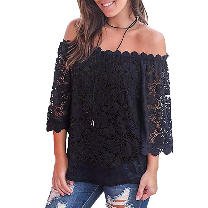 4fba80ac7dc DBHstore Women Lace Off Shoulder Tops Casual Sexy Blouse Elegant Loose  Shirts (M
