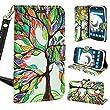 ZTE Allstar LTE, Customerfirst Wallet Case, Wrist Strap Flip Folio [Kickstand Feature] Pu Leather Wallet Case With Card Slot For ZTE Stratos Z818 (Dreamy Tree)