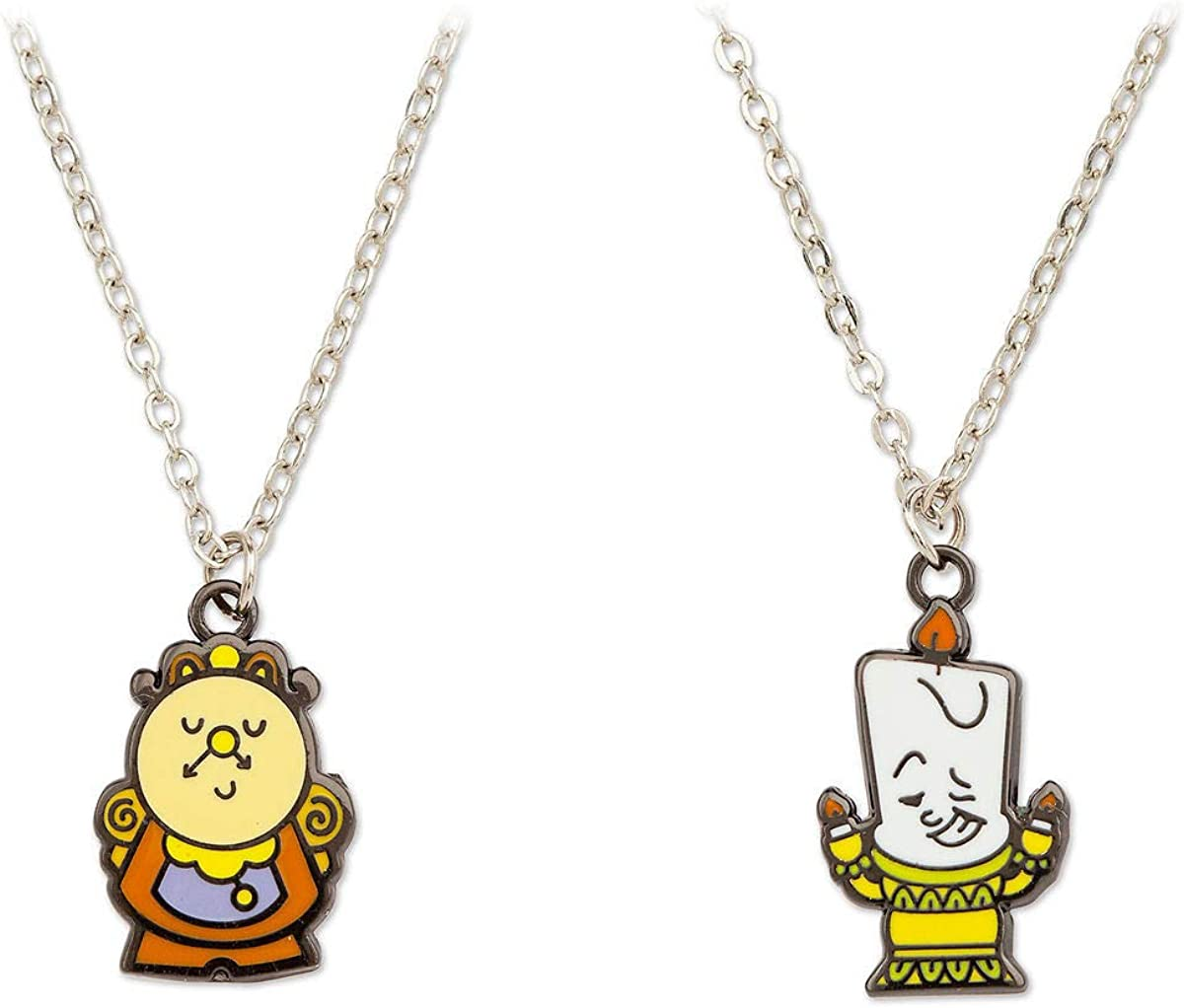 Disney Couture Kingdom Beauty /& the Beast White Gold-Plated Cogsworth Necklace